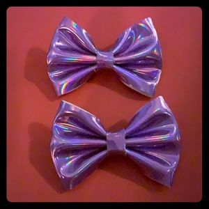 Metallic purple hair bows